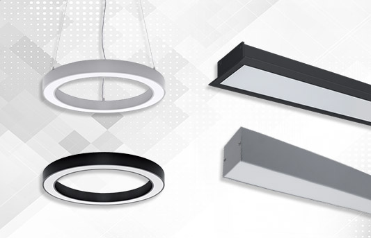 LED Profiles, Acoustic lighting fixtures and baffles